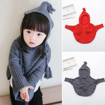 autumn girls boys child hooded knitted sweaters baby cute cape cotton kids thread cloaks children's clothing sweater