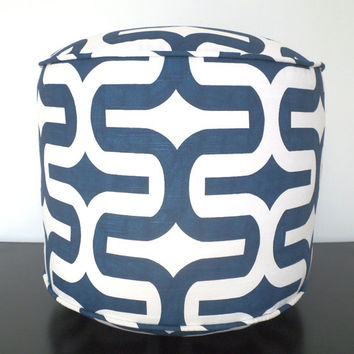 Blue round pouf ottoman 18, navy blue and white floor pouf for nursery room decor, trellis floor cushion, geometric dorm pouf chair, pouffe