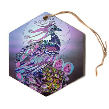 "Catherine Holcombe ""Peacock"" Purple Lavender Hexagon Holiday Ornament"