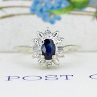 1950s Sapphire Engagement Ring   14k White Gold Cluster Ring   Vintage Baguette Diamond Halo Ring   Mid Century Cocktail Ring   Size 6.5