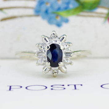 1950s Sapphire Engagement Ring | 14k White Gold Cluster Ring | Vintage Baguette Diamond Halo Ring | Mid Century Cocktail Ring | Size 6.5