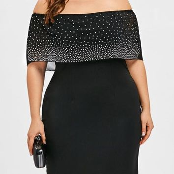 Plus Size Beading Off Shoulder Overlay Dress