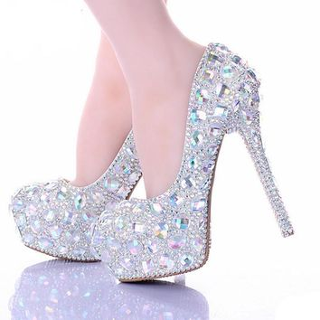 AB Crystal Diamond Exquisite Wedding Shoes Sparkling Rhinestone Handcraft Bridal Shoe