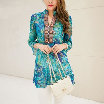 2017 Spring Summer floral V-neck Women Chiffon Embroidery Print Casual Indian Dress Red / Blue plus size M-4XL Bohemian Dresses
