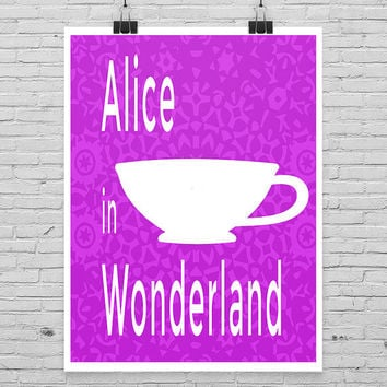 Alice in Wonderland Poster, Minimalist Poster, Nursery Art, Book Poster
