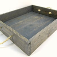 Reclaimed Wooden Tray with Rope Handles - Weathered Gray Dining Tray - Handmade Gray Serving Tray - Rustic Ottoman Tray - Centerpiece Tray