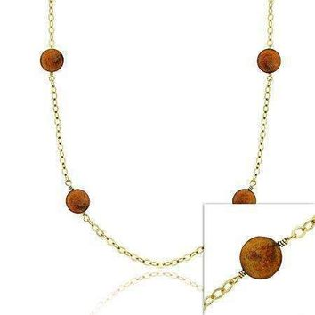 18K Gold over Sterling Silver Freshwater Cultured Copper Coin Pearl Chain Necklace, 30 inch