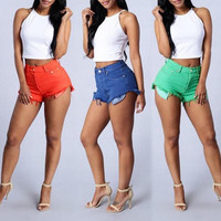 Fashion Women High Waist Denim Shorts Hot Pants Jeans