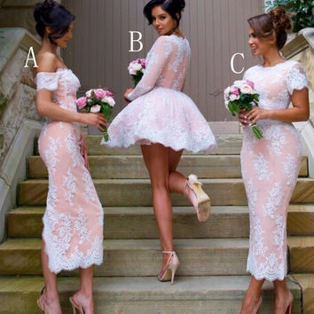 Short 2016 Long Sleeve Lace Bridesmaid Dresses Cheap V Neck Wedding Party Gowns Plus Size Maid of Honor Gown BE88