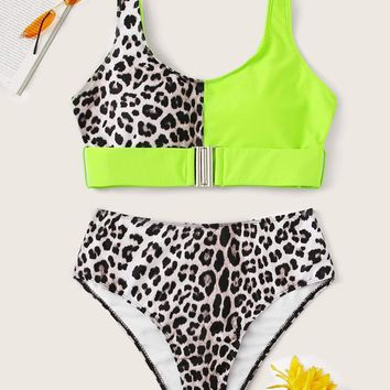 Neon Lime Buckle Top With High Waist Bikini
