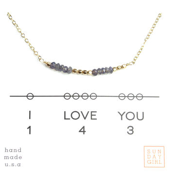 """I Love You"" Gemstone Secret Code Necklace - Iolite"