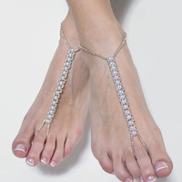 Bridal Barefoot Beach Sandals in Silver