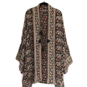 Silk Kimono jacket oversized / cocoon cover up embroidered beaded black and brown floral