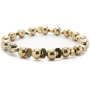 Gold Color Hematite Gemstones Beaded Bracelet for Men and Women