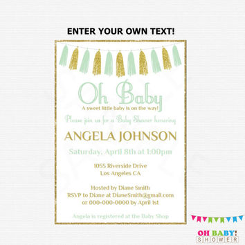 Mint and Gold Baby Shower Invitation, Editable Baby Shower Invitation, Gender Neutral Baby Shower, Printable, Oh Baby Invitation, Mint TASMG