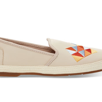 TOMS Whisper Leather with Embroidery Women's Sabado Natural
