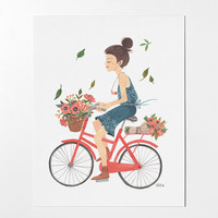 Girl on Bike - 8x10 art print