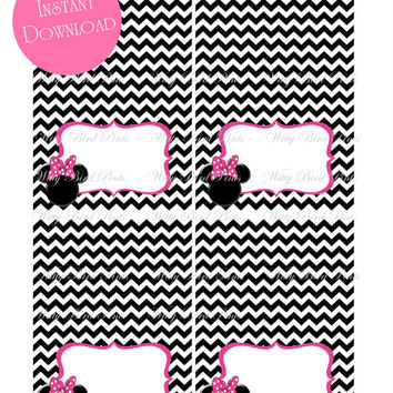 Minnie Mouse Tent Cards - INSTANT DOWNLOAD - Minnie Mouse Party - Minnie Mouse Baby Shower