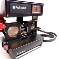 Vintage Polaroid Camera  Black Polaroid Sun 660 by MaejeanVINTAGE