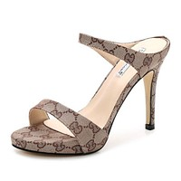 GUCCI Trending Stylish Women Summer Princess Sandals High Heels Khaki I12049-1