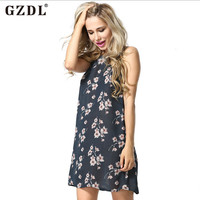 GZDL Women Vintage Floral Boho Chiffon Backless Strappy Floral Printed Summer Beach Club Party Dress Sundress Vestidos CL2757