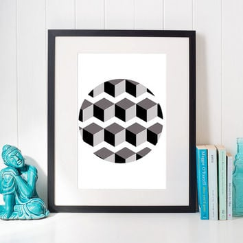 Geometric cube, Wall art printable, minimalist print, modern home decor, interior design, scandinavian design, wall decoration, gift ideas
