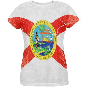 Florida Vintage Distressed State Flag All Over Womens T Shirt