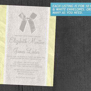 Yellow Vintage Bow & Linen Wedding Invitations | Invites | Invitation Cards