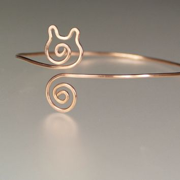 14k rose golf filled kitty cat wiring  bangle bracelet Bridesmaids gifts Free US Shipping handmade Anni Designs