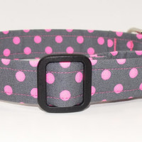 Grey and Neon Pink Polka Dot Dog Collar