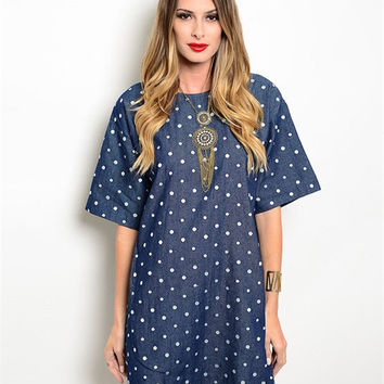 Denim White Dots Dress