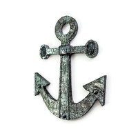Anchor Wall Decor nautical wall hanging for beach decor in distressed steel faux finish on metal over wood