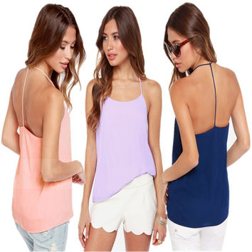 Women's Fashion Sexy Backless Double-layered Chiffon Camisole Tops [4915032836]