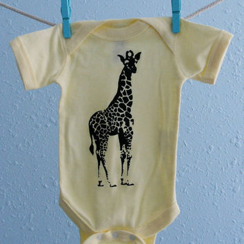 Giraffe Onesuit Screen Printed Free by countercouturedesign