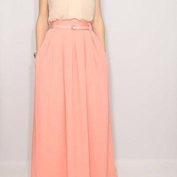 Peach skirt Chiffon maxi skirt with pockets