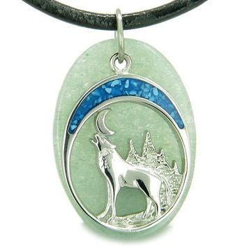 Howling Wolf and Moon Amulet Good Luck Powers Green Aventurine Gemstone Leather Cord Necklace