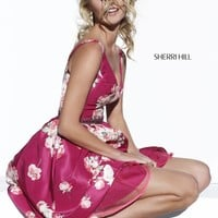 Sherri Hill 32321 Short Dress Taffeta Print V-Neck Beaded Waistband