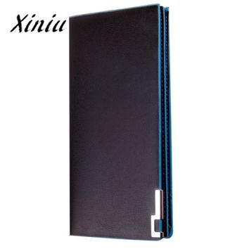 Men Long Wallets Male Thin Flip Up Money Bag Solid Color Qualited Pu Leather Purses billetera cuero hombre #9013