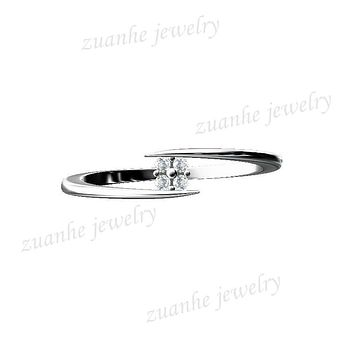 Solid 10k White Gold Women Engagement Natural diamonds Ring Lady Wedding Band