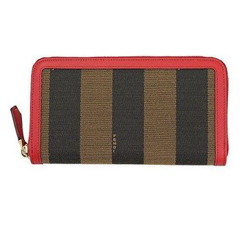 Fendi Pecan Beige Red Canvas Zip Around Long Wallet 8m0024 Fkn