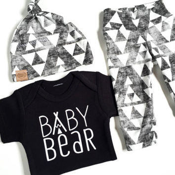 Baby Bear   baby boy take home outfit  organic cotton   baby set   baby outfit   cute baby gift   baby boy