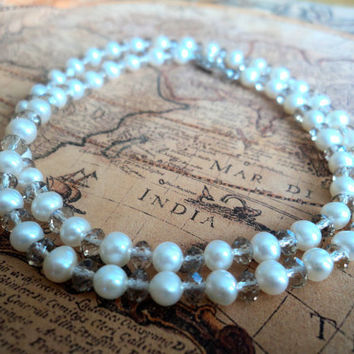 White Pearl Necklace and Bracelet by Lunarpearl on Etsy