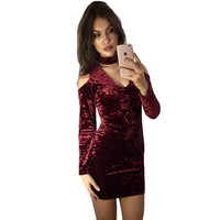 2017 New Spring Wine Red Crushed Velvet Party Dresses Detail Cut Out V Neck Long Sleeve Off Shoulder Sexy Bodycon Women Dress
