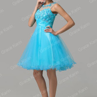 XMAS GIFT Girl Short Tulle Beaded Evening Party Cocktail Prom Homecoming Dresses
