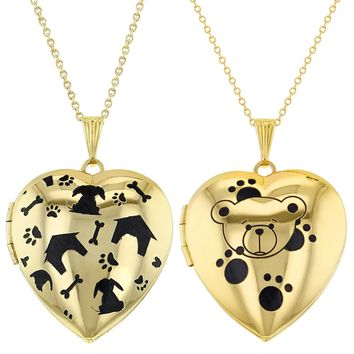 Set of Two Dog Love Teddy Love Heart Photo Lockets Pendant Necklaces 19""