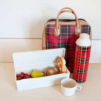 Vintage Plaid Red Thermos Picnic Set, Storage Containers and Bag