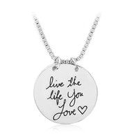 Ela Live the Life You Love Charm Necklace, Engraved Gifts
