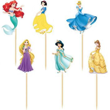 LMFONHS 72pcs/lot Cinderella Princess wedding decoration cake Topper Picks baby shower girl's wedding party kids birthday party supplies