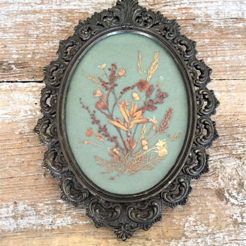 Framed Pressed Flower Art Brass Framed Dried Flowers Folk Art Wall Hangings Farmhouse Chic Decor Small Ornate Brass Frame Cottage Chic