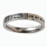 Christian Women's Stainless Steel Princess Cut My Beloved's Songs of Solomon 6:3 Girls Purity Ring